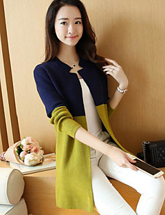 Women's Casual/Daily Simple Long Cardigan,Color Block Round Neck Long Sleeves Polyester Spring Fall Thin Stretchy