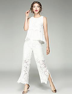 Damen Solide Einfach Street Schick Lässig/Alltäglich Muskelshirt Hose Anzüge,U-Ausschnitt Sommer Herbst Ärmellos Spitze Ausgehöhlt