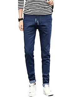 Pánské Jednoduchý Mikro elastické Upnuté Džíny Kalhoty Štíhlý Mid Rise Jednobarevné