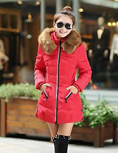 Manteau Rembourré Femme,Longue Vintage simple Mignon Grandes Tailles Sortie Décontracté / Quotidien Couleur Pleine-Coton PolyesterCoton