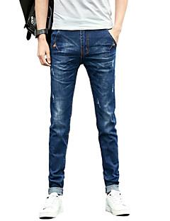 Herren Einfach Mittlere Hüfthöhe Mikro-elastisch Eng Jeans Schlank Hose Solide