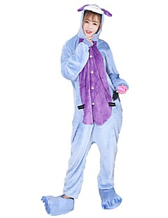 billige Kigurumi-Kigurumi-pysjamas med tøfler Esel Onesie-pysjamas Kostume Flannelstoff Blå Cosplay Til Pysjamas med dyremotiv Tegnefilm Halloween