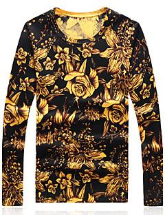 baratos Suéteres & Cardigans Masculinos-Homens Tamanhos Grandes Bandagem Temática Asiática Manga Longa Lã Pulôver - Estampa Colorida, Estampado Lã