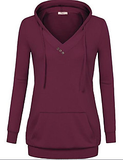 Women's Casual/Daily Simple Hoodie Solid V Neck Stretchy Polyester Spandex Long Sleeve Winter