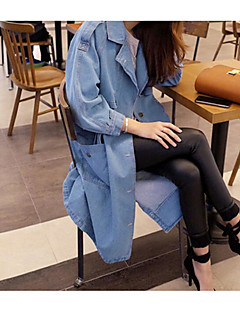 Women's Daily Going out Simple Casual Spring Fall Denim Jacket,Solid Peter Pan Collar Long Sleeve Long Cotton
