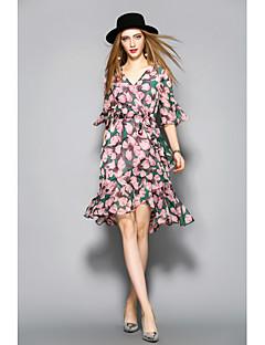 Χαμηλού Κόστους ANGEL-Γυναικεία Θήκη Φόρεμα - Φλοράλ Λαιμόκοψη V