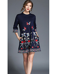 Women's Holiday Going out Casual/Daily Simple Street chic A Line Loose Dress,Floral Crew Neck Mini 3/4 Length Sleeves Polyester All