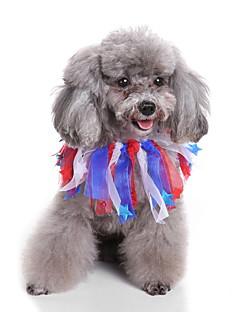 billiga Hundkläder-Hund Halsband / Snusnäsdukar och mössor Hundkläder Enfärgad Gul / Röd / Grön Terylen Kostym För husdjur Halloween / Jul
