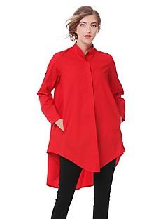 Damen Solide Einfach Street Schick Ausgehen Lässig/Alltäglich Hemd,Hemdkragen Sommer Herbst Langarm Baumwolle Mittel
