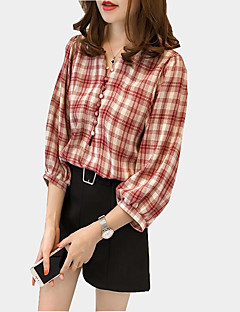 Women's Casual/Daily Sexy Fall Shirt,Plaid V Neck 3/4 Length Sleeves Polyester