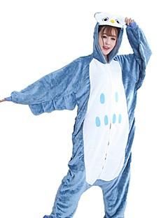 billige Kigurumi-Kigurumi-pysjamas Ugle Onesie-pysjamas Kostume Flannelstoff Blå Cosplay Til Pysjamas med dyremotiv Tegnefilm Halloween Festival / høytid