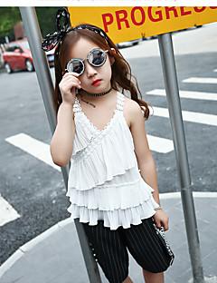 Jente T-skjorte Blomstret Bomull Nylon Sommer Kortermet