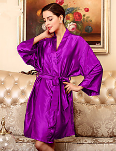 Women's  Robes Satin & Silk Nightwear With Belt,Sexy Solid-Medium Polyester