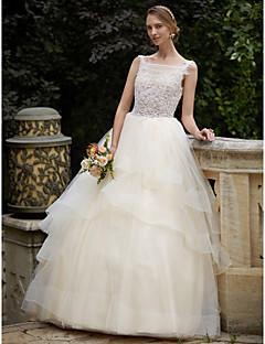 billiga Brudklänningar-Balklänning Bateau Neck Hovsläp Spets / Tyll Bröllopsklänningar tillverkade med Bård / Applikationsbroderi / Lager av LAN TING BRIDE®