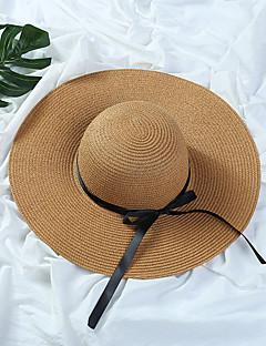 Damen Freizeit Mützen Sommer Stroh Strohhut Sonnenhut,Solide Reine Farbe