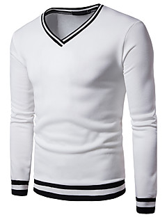 Men's Daily Going out Casual Sweatshirt Solid V Neck Inelastic Cotton Long Sleeve Winter Fall