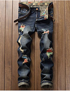 billige Herrebukser og -shorts-Herre Normal Fritid Uelastisk Rett Tynn Jeans Bukser, Mellomhøyt liv Bomull Polyester Jeans Høst