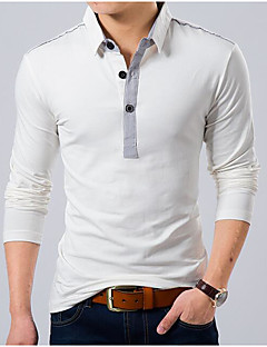 Men's Casual/Daily Simple Polo,Solid Shirt Collar Long Sleeve Cotton