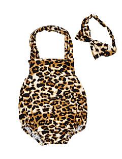 Baby Einzelteil Leopard Druck Baumwolle Sommer Ärmellos
