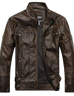 Men's Daily Vintage Spring Fall Leather Jacket