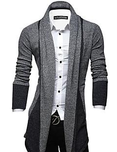 tanie Męskie swetry i swetry rozpinane-Męskie Weekend Moda miejska Kołnierzyk koszuli Szczupła Długi Rozpinany Wielokolorowa Długi rękaw