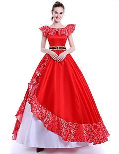 Princesa Rainha Fantasias de Cosplay Festa a Fantasia Baile de Máscara Cosplay de Filmes Branco Vermelho Vestido Cinto Natal Dia Das