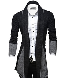 cheap $20-$25-Men's Daily / Going out / Weekend Street chic Color Block Long Sleeve Slim Long Cardigan, Shirt Collar Fall / Winter Dark Gray / Wine / Light gray L / XL / XXL