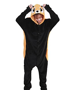 billige Kigurumi-Voksne Kigurumi-pysjamas Vaskebjørn Onesie-pysjamas Flannelstoff Svart Cosplay Til Damer og Herrer Pysjamas med dyremotiv Tegnefilm Halloween Festival / høytid