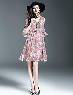 Χαμηλού Κόστους ANGEL-Γυναικεία Θήκη Φόρεμα - Μονόχρωμο Κέντημα Λαιμόκοψη V