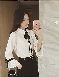 Women's Casual/Daily Simple Fall Blouse,Solid Peter Pan Collar Long Sleeves Spandex Medium