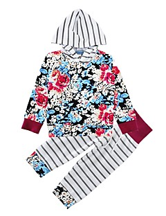 billige Babytøj-Baby Pige Tøjsæt Bomuld Trykt mønster, Bomuld Vinter Forår/Vinter Langærmet Blomster Blå
