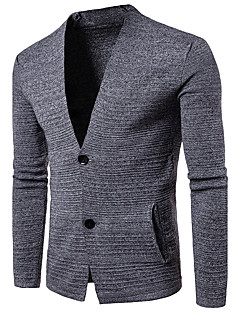 Men's Going out Casual/Daily Simple Regular Cardigan,Solid V Neck Long Sleeves Cotton Fall Medium Micro-elastic