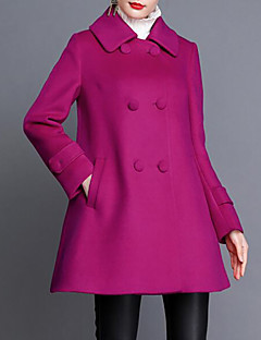 Feminino Casaco Casual Tamanhos Grandes Simples Outono Inverno,Sólido Longo Algodão Acrílico Colarinho de Camisa Manga Longa