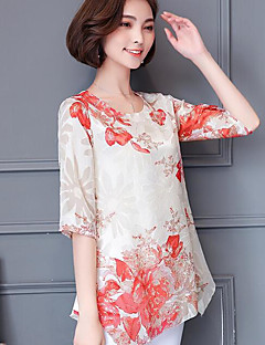 Women's Casual/Daily Simple Summer Blouse,Floral Round Neck Short Sleeves Others