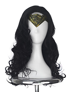 Wonder Womens Diana Prince Adult Long Wavy Black Color Movie Cosplay Costume Party Full Wig