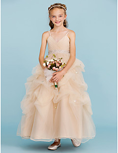 cheap Flower Girl Dresses-Ball Gown Ankle Length Flower Girl Dress - Tulle Sleeveless Spaghetti Straps with Bow(s) by LAN TING BRIDE®