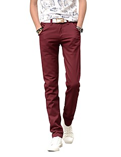 Men's Mid Rise Inelastic Straight Chinos Pants,Simple Straight Chinos Solid