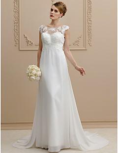 billiga A-linjeformade brudklänningar-Åtsmitande Illusion Halsband Hovsläp Chiffong / Spets Bröllopsklänningar tillverkade med Rosett / Applikationsbroderi av LAN TING BRIDE®