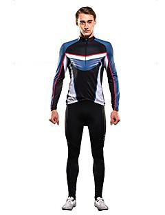 billige Sett med sykkeltrøyer og shorts/bukser-SPAKCT Herre Langermet Sykkeljersey med tights - Svart/Blå Sykkel Klessett
