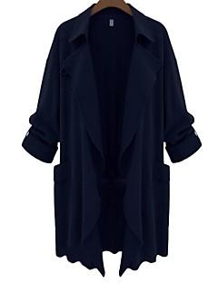 Damen Solide Einfach Street Schick Festtage Lässig/Alltäglich Trench Coat,Steigendes Revers Herbst Lange Ärmel Standard Polyester