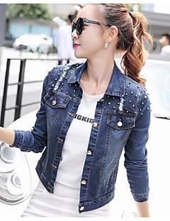 Damen Solide Street Schick Lässig/Alltäglich Jeansjacke,Hemdkragen Frühling Lange Ärmel Standard Baumwolle