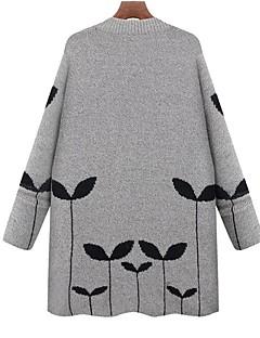 baratos Suéteres de Mulher-Mulheres Tamanhos Grandes Trabalho Moda de Rua Manga Longa Longo Carregam - Sólido, Estampado