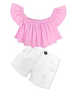 billige Tøjsæt til piger-Pige Tøjsæt Ensfarvet, Bomuld Forår Sommer Kortærmet Pænt tøj Lyserød