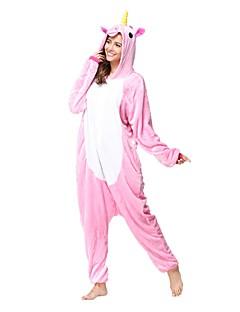 billige Kigurumi-Kigurumi-pysjamas Enhjørning Onesie-pysjamas Kostume Flanell Fleece Rosa Cosplay Til Voksne Pysjamas med dyremotiv Tegnefilm Halloween
