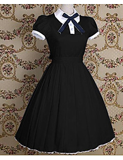 One Piece Dress Sweet Lolita Sailor Lolita Vintage Inspired Cosplay Lolita Dress Pink Black Blue Solid Bowknot Vintage Short Sleeves