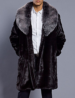 cheap Men's Jackets & Coats-Men's Daily Fall / Winter Plus Size Long Fur Coat, Solid Colored Shirt Collar Long Sleeve Faux Fur Black XL / XXL / XXXL