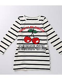 Streep Katoen Herfst Winter Lange mouw Meisjes T-shirt