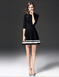 Γυναικείο Εξόδου Καθημερινά Απλό Φαρδιά Θήκη Φόρεμα,Συνδυασμός Χρωμάτων Κοντομάνικο Στρογγυλή Λαιμόκοψη Πάνω από το Γόνατο Βαμβάκι Άλλα