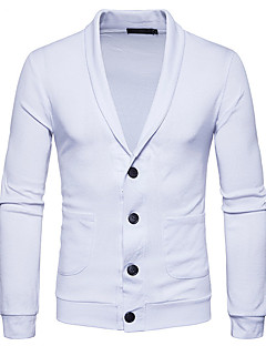 Men's Daily Going out Casual Regular Cardigan,Solid Shirt Collar Long Sleeves Cotton Spring Fall Medium Stretchy