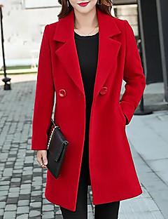 Damen Solide Einfach Lässig/Alltäglich Übergröße Mantel,Hemdkragen Herbst Winter Lange Ärmel Lang Baumwolle Acryl